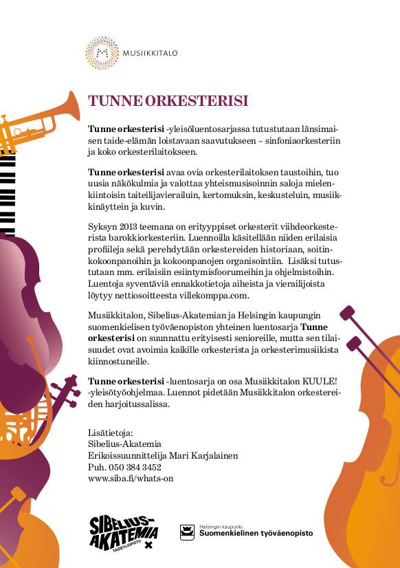 Tunne orkesterisi -luentosarjan syksyn  esittely