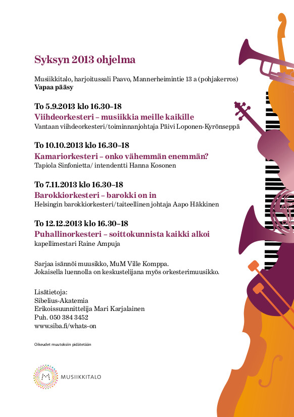Tunne orkesterisi -luentosarjan ohjelma